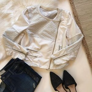 Zara Trafaluc Cream Quilted Moto Jacket Medium
